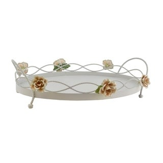 White metal oval serving tray with flowers