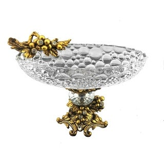 Flat fruit / cake platter with gold and crystal decoration