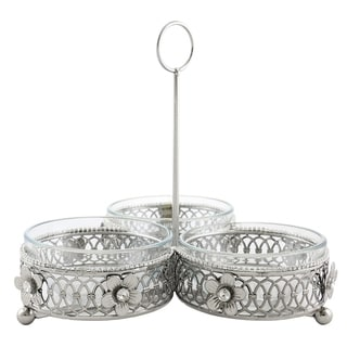 Jeweled 3-section dip bowl with handle