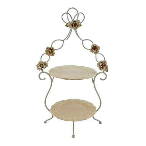 Metal and ceramic two tier serving platters