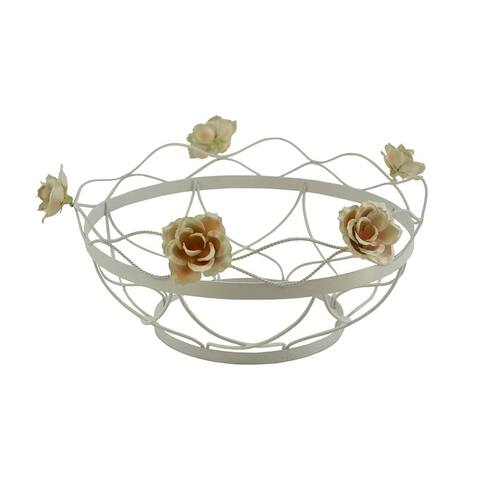 Metal basket / bowl with flowers