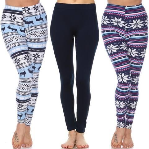 White Mark Women's Pack of 3 Leggings
