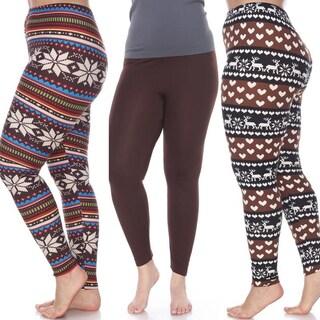 White Mark Women's Pack of 3 Plus Size Leggings