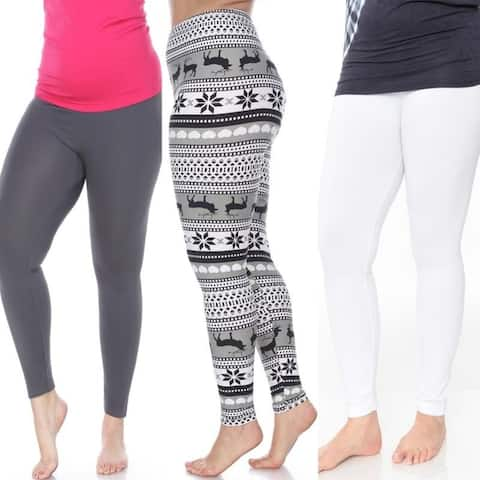 White Mark Women's Pack of 3 Plus Size Leggings