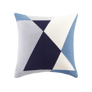 INK+IVY Aero Blue Cotton Embroidered Abstract Decorative Throw Pillows (As Is Item)