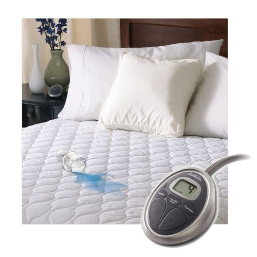 Sunbeam SelectTouch Waterproof Quilted Electric Heated Mattress Pad   Full  Size   White
