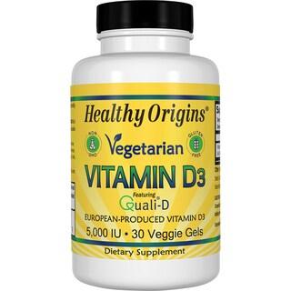 Healthy Origins Vegetarian Vitamin D3 5,000 IU (30 Veggie Softgels)