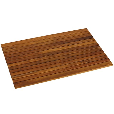 "Bare Decor Cosi String Spa Shower Mat in Solid Teak Wood Oiled Finish, Large: 31.5"" x 20"""