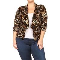 Women's Plus Size Leopard Pattern Blazer Cardigan
