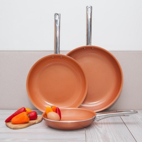 Healthy Non-Stick Copper Ceramic 3pcs Induction Frying Pan Skillet Set