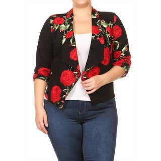 Women's Plus Size Floral Pattern Blazer Cardigan