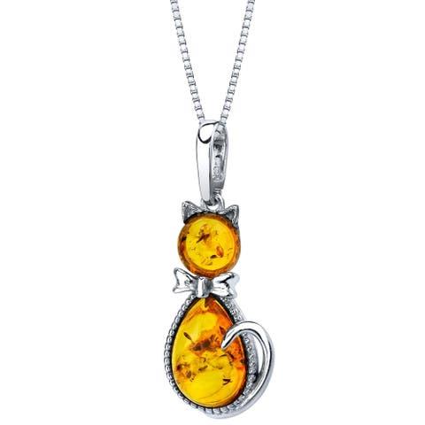 Oravo Baltic Amber Sterling Silver Cat Pendant Necklace - Orange