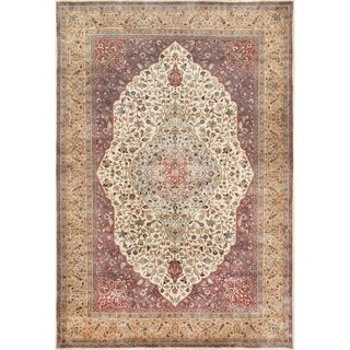 "Pasargad Tabriz Collection Hand-Knotted Ivory/Camel Wool Rug (6' 1"" X 8'11"")"