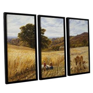 George Vicat Cole 'Harvest Time Near Holmbury Hill Surrey' 3-piece Floater-framed Canvas Set