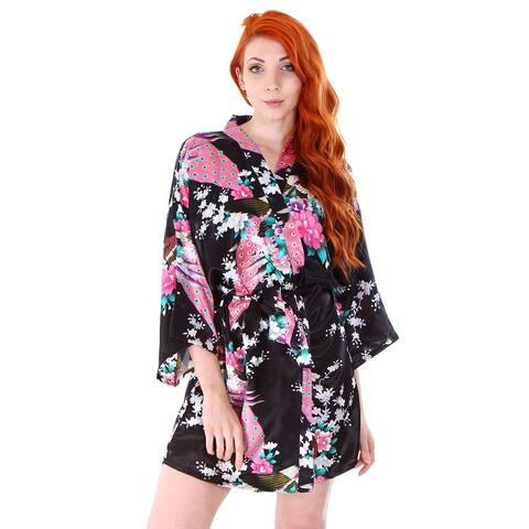 Women's Peacock and Blossoms Printed Silk Satin Kimono Short Robe