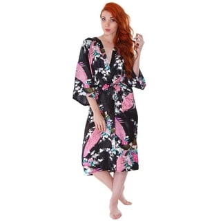 Simplicity Women's Kimono Robe in Silky Peacock Floral Print with Pockets