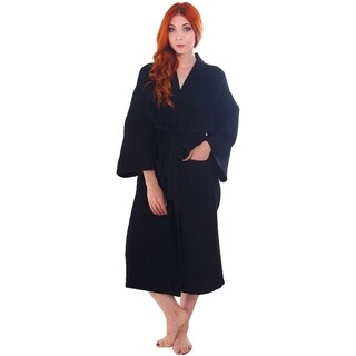 Unisex Cotton Honeycomb Waffle Kimono Bath Robe with Pockets