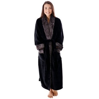 Unisex Luxury Pocketed Velvet Fleece Bathrobe with Faux Fur Trim