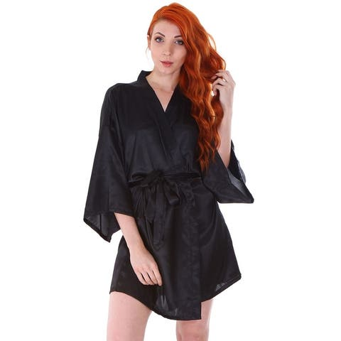 Women's Silk Satin Short Lingerie Bridal Kimono Robe