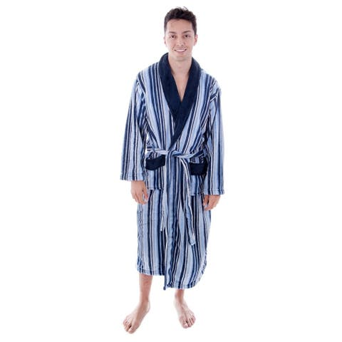 Men's Hotel Fleece Terry Pocketed Bathrobe with Hood