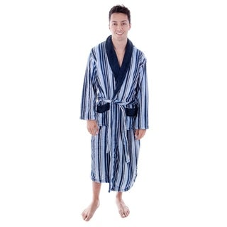 Men's Hotel Fleece Terry Pocketed Bathrobe with Hood (2 options available)