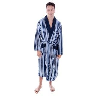 Men's Hotel Fleece Terry Pocketed Bathrobe with Hood