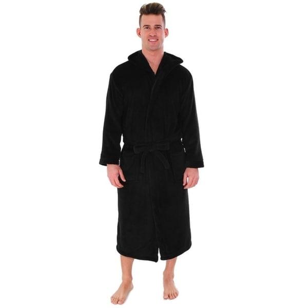 Shop Unisex Plush Fleece Hooded Robe Kimono Bathrobe Sleepwear - On ... 555d5e221