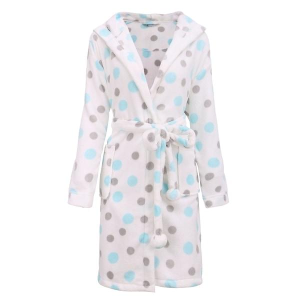 Women's Luxurious Hooded Solid Flannel Fleece Bathrobe with Side Pockets