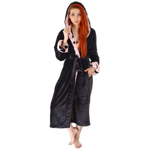 e03f2e3957e Women s Soft Plush Hoodie Bathrobe Kimono Robe with Hoodie