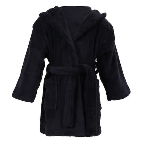 Simplicity Children's Hooded Plush Velvet Robe with Pockets