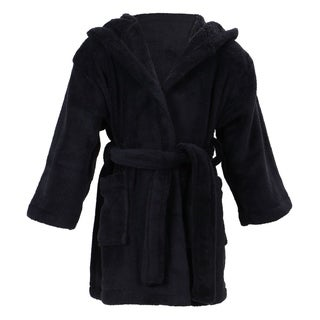 Simplicity Children's Hooded Plush Velvet Robe with Pockets