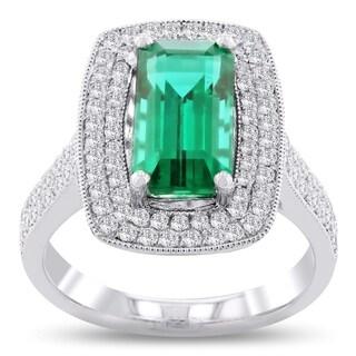 Auriya Platinum 3ct Emerald and 3/4ct TDW Diamond Ring - White