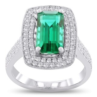 Auriya Platinum 3ct Emerald and 3/4ct TDW Diamond Ring - White (More options available)