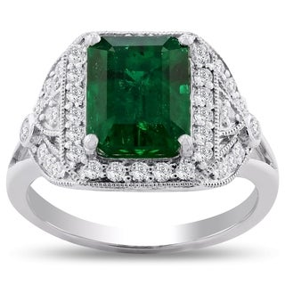 Auriya Platinum 3 1/5ct Emerald-Cut Emerald and 3/8ct TDW Diamond Halo Engagement Ring - White