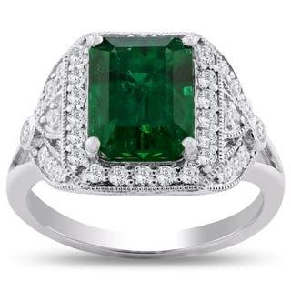 Auriya Platinum 3 1/5ct Emerald-Cut Emerald and 3/8ct TDW Diamond Halo Engagement Ring - White