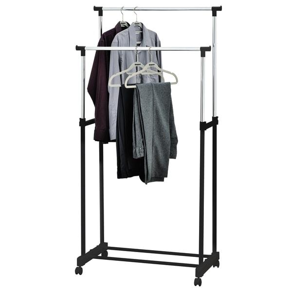 Furinno Wayar Double Garment Rack, White, WS17022B BK