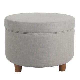 HomePop Round Storage Ottoman - Silver