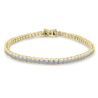 Auriya 14k Yellow Gold 8ct TDW Diamond Tennis Bracelet - White