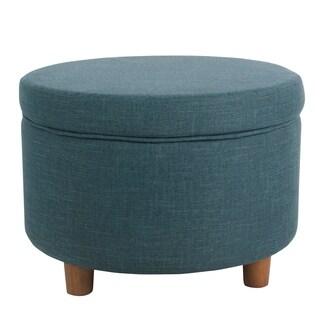 HomePop Round Storage Ottoman - Teal
