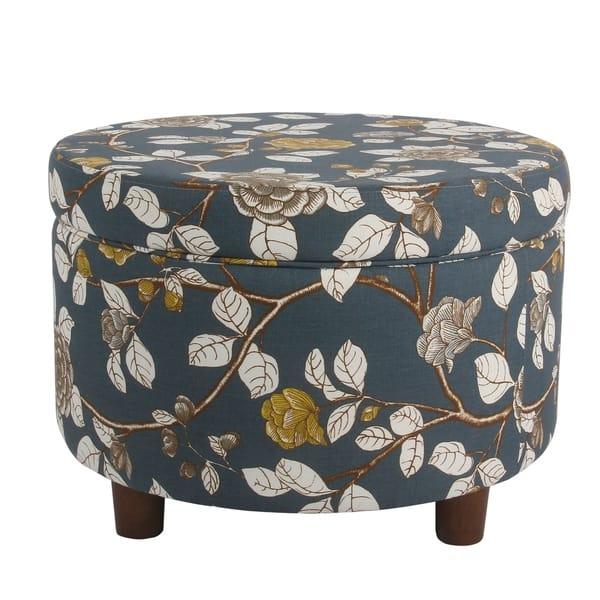 Outstanding Shop Porch Den Banyon Navy Floral Round Storage Ottoman Spiritservingveterans Wood Chair Design Ideas Spiritservingveteransorg
