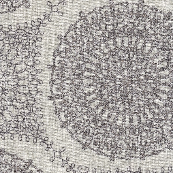 HomePop Round Upholstered Storage Ottoman Grey Medallion