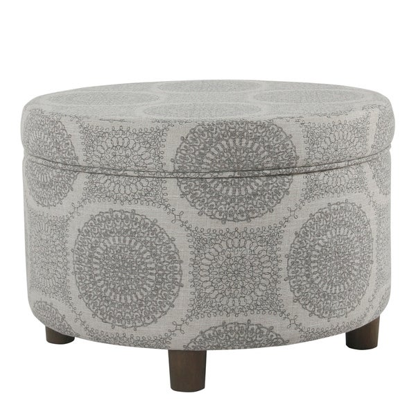 HomePop Round Storage Ottoman Gray Medallion Free Shipping