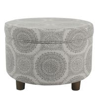 Clay Alder Home Alderson Round Storage Ottoman - Gray Medallion
