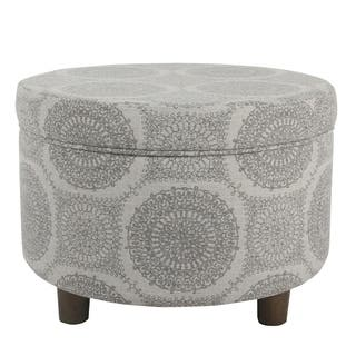 Clay Alder Home Alderson Round Storage Ottoman Gray Medallion