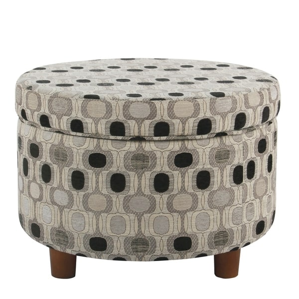 Fine Shop Porch Den Ames Black Geo Round Storage Ottoman On Inzonedesignstudio Interior Chair Design Inzonedesignstudiocom