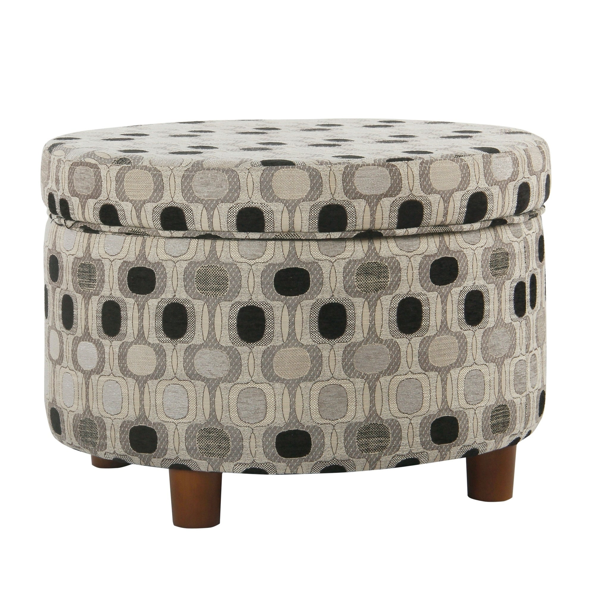 Excellent Porch Den Ames Black Geo Round Storage Ottoman Squirreltailoven Fun Painted Chair Ideas Images Squirreltailovenorg
