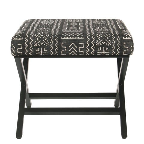 HomePop Upholstered Metal Ottoman - Onyx