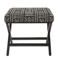 HomePop Upholstered Metal Ottoman - Onyx
