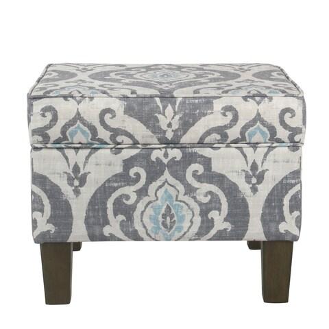 HomePop Suri Storage Ottoman - Blue Slate