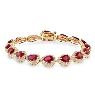 Auriya Vintage 15 3/8ct Pear Shape Ruby and 3 1/3ct TDW Diamond Bracelet 14K Yellow Gold